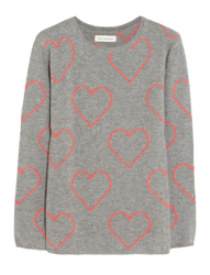 Grey and Red Heart Jumper