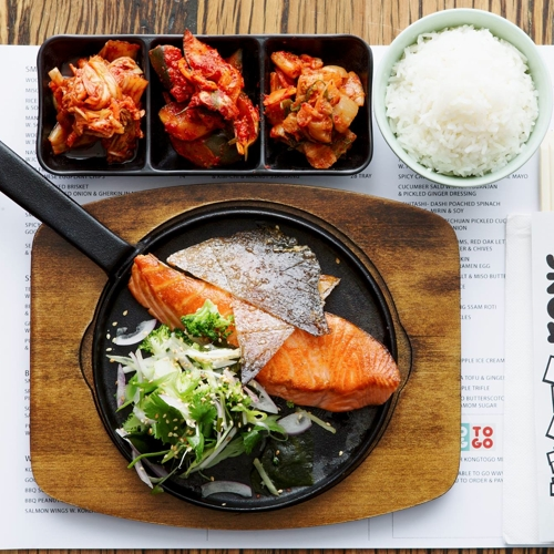 Kong_Wood roasted Salmon w crispy skin Seaweed Salad and Kim Chi
