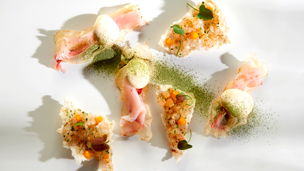 Pei-Modern-Snapper-Tartare-Green-Rice-Cracker-Kingfish-Ham