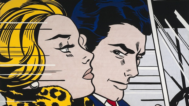Roy Lichtenstein     In the car (detail) 1963     oil and magna on canvas, 172 x 203.5 cm     Scottish National Gallery of Modern Art     Purchased 1980     © Estate of Roy Lichtenstein