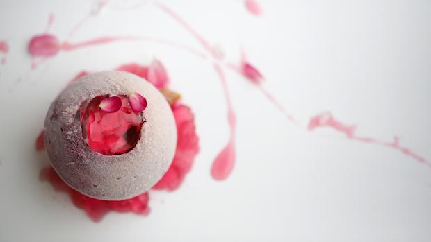 Cassis Plum. Yoghurt. Bamboo shoot