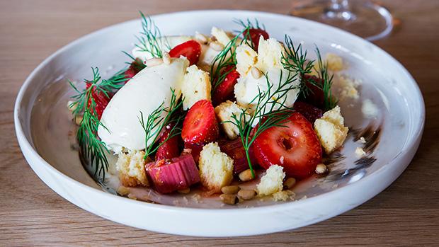 Drake-Eatery-Vanilla-cheesecake-rhubarb-winter-strawberries-pine-nut