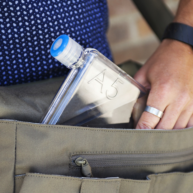 Memo Bottle fits perfectly in a messenger bag