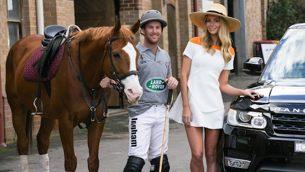 Polo player Marty Ingham with Land Rover Ambassador Jennifer Hawkins for Land Rover Polo in the City, Image credit Jack Bennett(5)