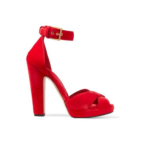 ALEXANDER MCQUEEN - Velvet platform sandals