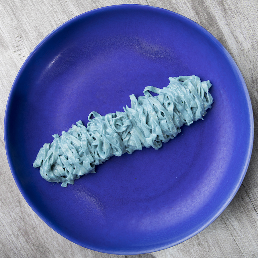Yes, it's definitely blue. The Blue Spirulina Tagliatelle