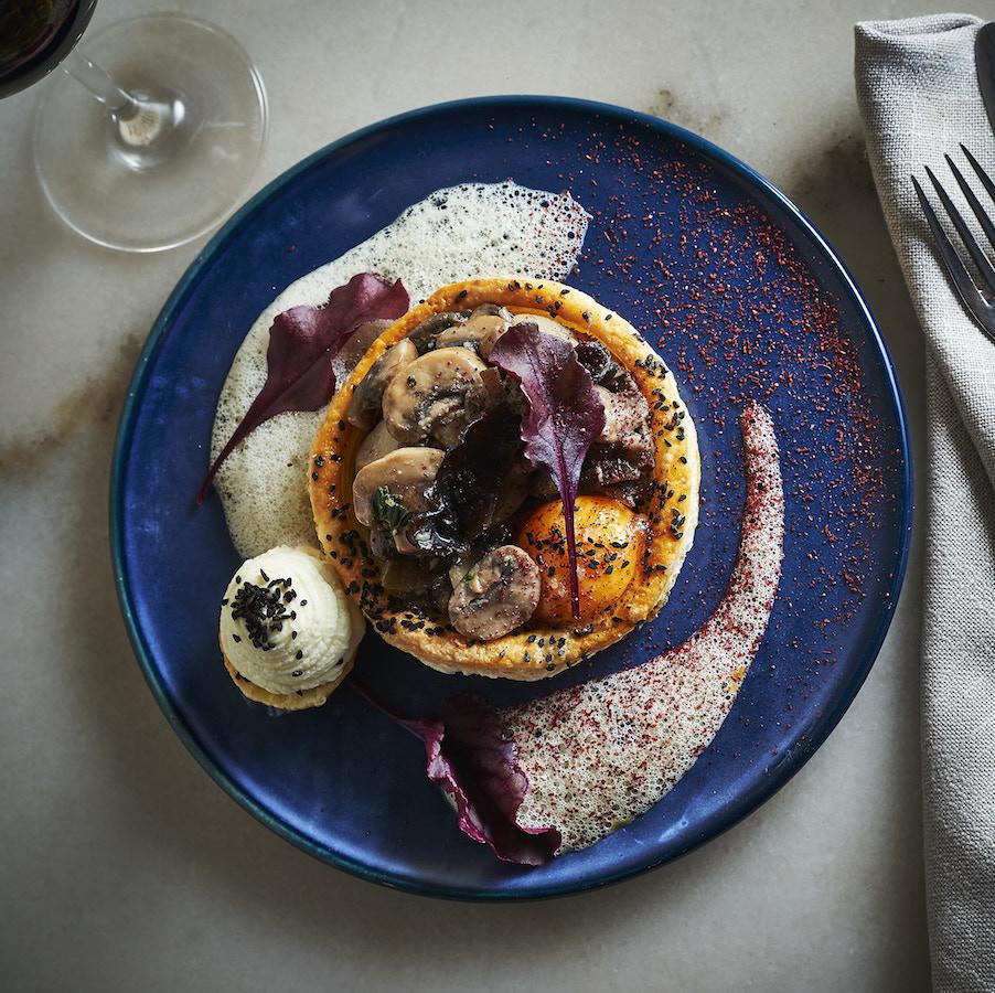 Tayim_Summer Mushroom Borekas, Goats' Cheese, Spinach, Hen's Yolk, Porcini Bisque_2
